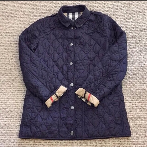 Burberry Jackets Coats Euc Navy Quilted Jacket Womens Xs14kids